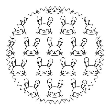 circular frame with cute rabbits over white background, vector illustration