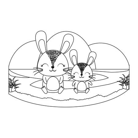 cute rabbits on the grass over white background, vector illustration 일러스트