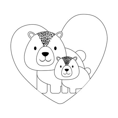 heart with cute bears over white background, vector illustration