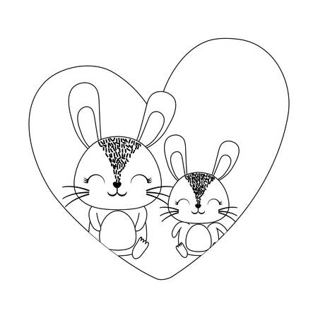 heart with cute rabbits over white background, vector illustration 일러스트