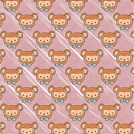 background of cute monkeys, colorful design. vector illustration