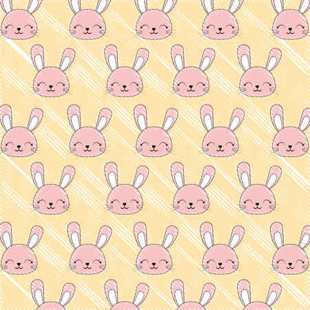 colorful background of cute rabbits, vector illustration