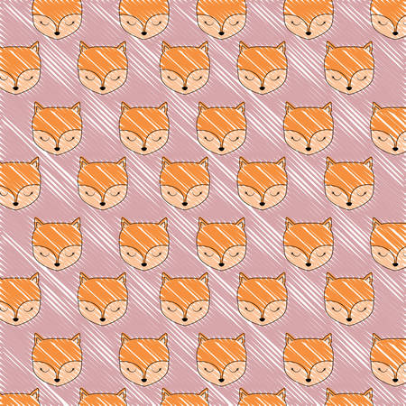 background with cute foxes pattern, vector illustration Illustration