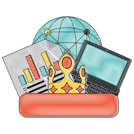 laptop and social media related icons over white background, colorful design. vector illustration 向量圖像
