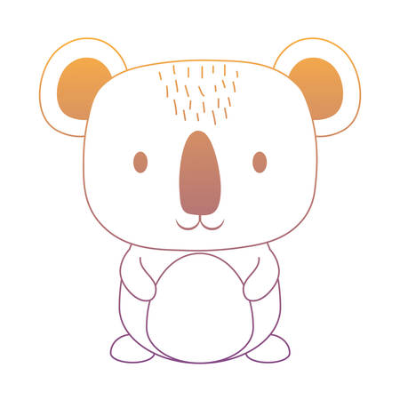 Cute koala icon over white background. Cute animals concept and colorful design. Vector illustration