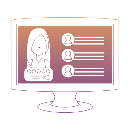 monitor computer with web profile on screen over white background, vector illustration
