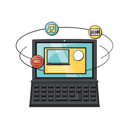 laptop computer with social media related icons over white background, colorful design. vector illustration