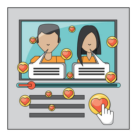 video player interface with couple with speech bubbles over white background, vector illustration