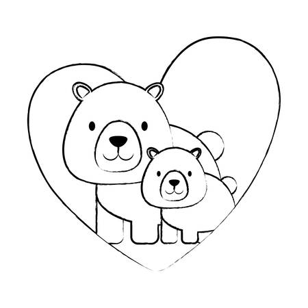 sketch of heart with cute bears over white background, vector illustration