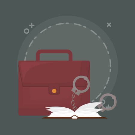 portfolio with handcuffs and book over green background, colorful design. vector illustration 矢量图像