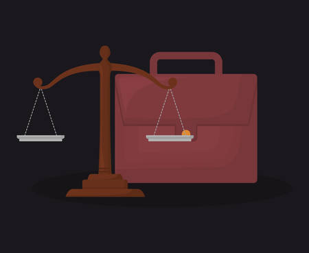 portfolio and law scale over black background, colorful design. vector illustration