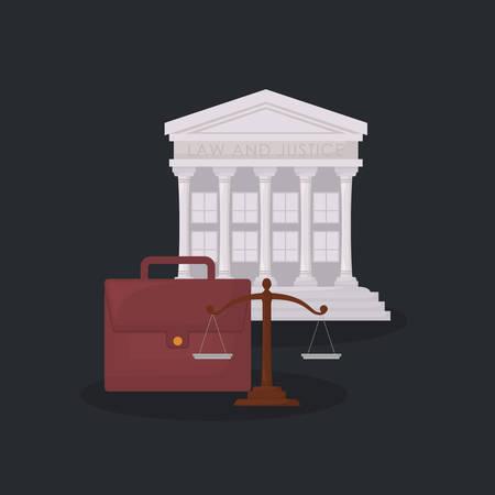 court building symbol and portfolio over black background, colorful design. vector illustration