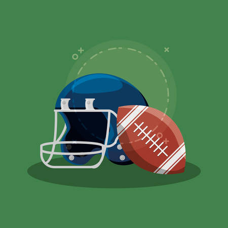 american football ball and helmet over green background, colorful design. vector illustration