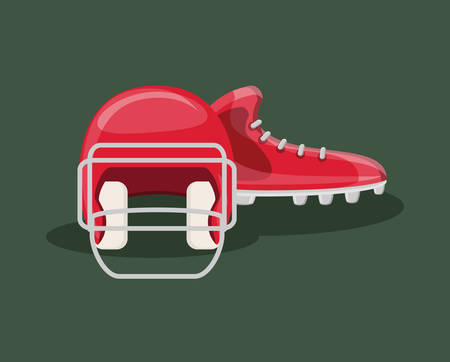 american football design with cleats and helmet over green background, colorful design. vector illustration