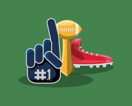 sport fan glove and american football related icons over green background, colorful design. vector illustration Stock Illustratie