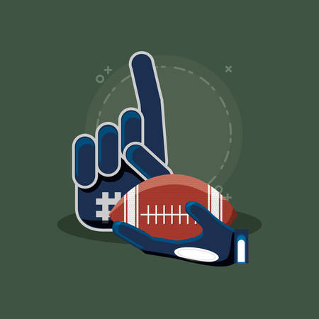sport fan glove and american football ball over green background, colorful design. vector illustration