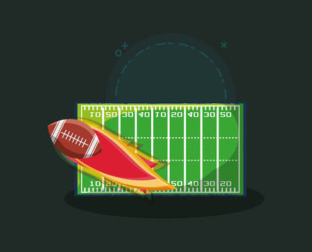 american football design with field and ball on fire over green background, colorful design. vector illustration