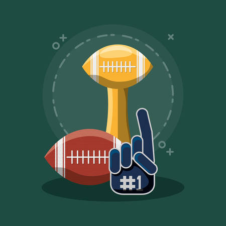 american football trophy with ball and sport fan glove over green background, colorful design. vector illustration Illustration