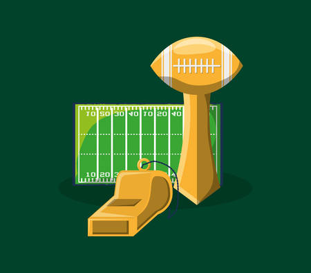 american football trophy and filed over green background, colorful design. vector illustration