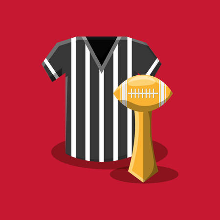 american football trophy and referee jersey over red background, colorful design. vector illustration