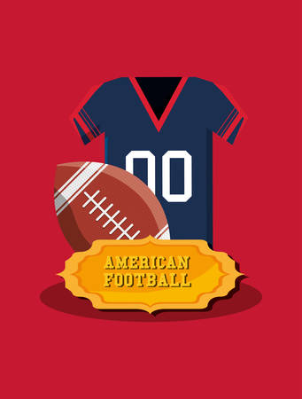 american football emblem with jersey and ball over red background, colorful design. vector illustration Illustration