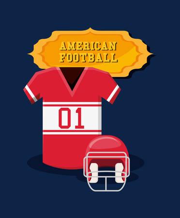 american football emblem with jersey and helmet over blue background, colorful design. vector illustration Illustration