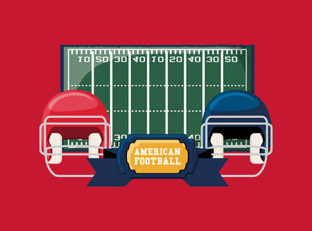american football design with helmets and field over red background, colorful design. vector illustration Stock Illustratie