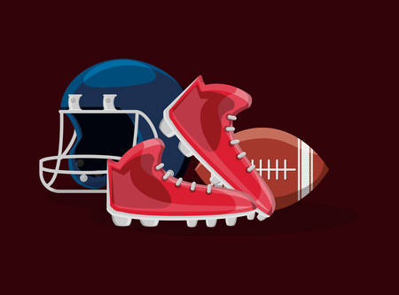 american football design with cleats and related icons over brown background, colorful design. vector illustration Stock Illustratie