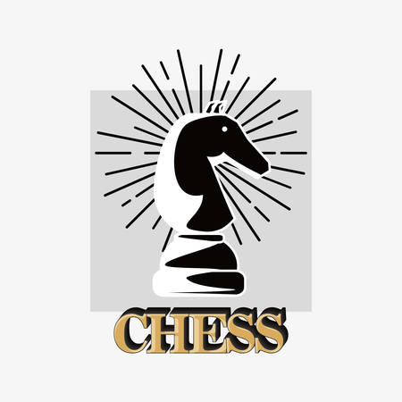 chess design with knight piece over white background, black and white design. vector illustration Çizim
