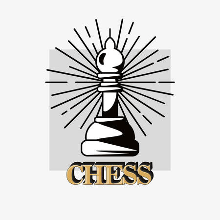 Chess design with bishop piece over a white background 일러스트