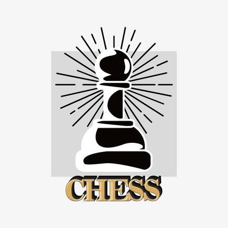 Chess design with pawn piece over a white background