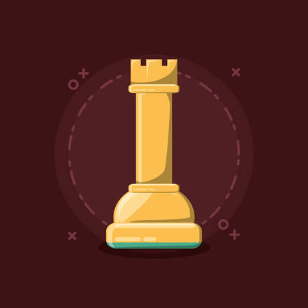 Chess design with rook piece over a red background Illustration