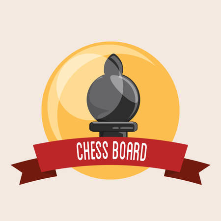 Emblem of chess board design with pawn piece and decorative ribbon