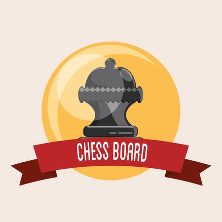 Emblem of chess board design with crown piece and decorative ribbon over yellow circle background