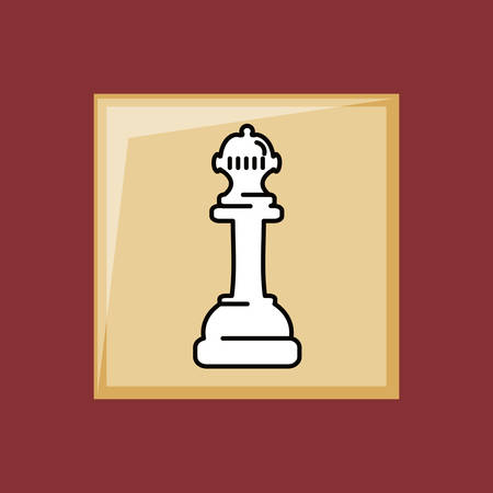 Chess game piece icon over a red background Stock Illustratie