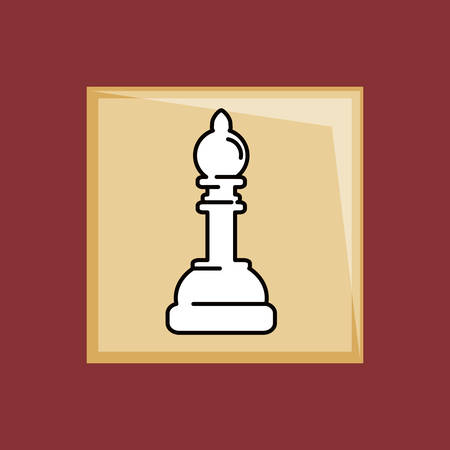 Chess game piece icon over a red background Ilustrace