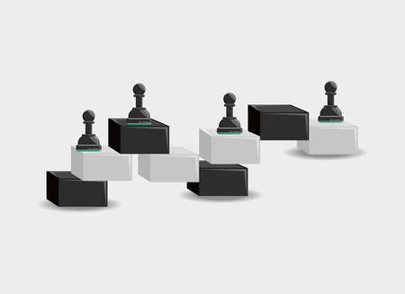 Chess game pieces over a white background Ilustrace