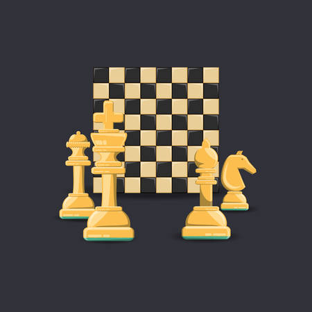 Chess game design with chessboard and pieces over a black background