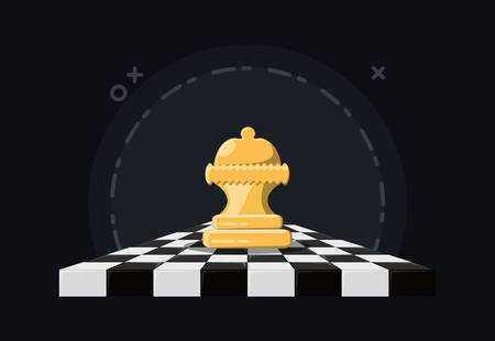 Chessboard with queen piece over a black background