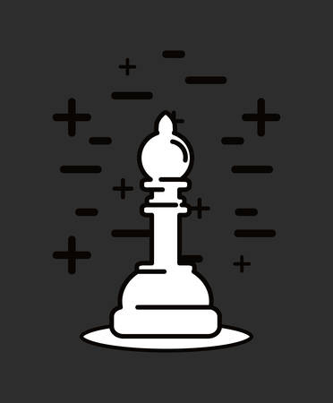 Chess design with piece icon over a black background.