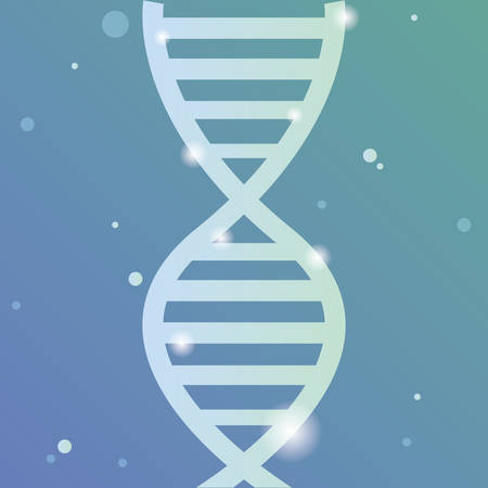 Dna molecule over blue background, colorful design. vector illustration