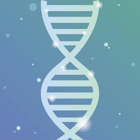 Dna molecule over blue background, colorful design. vector illustration