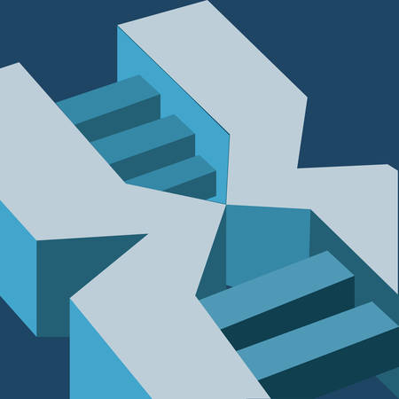 isometric dna molecule over blue background, colorful design. vector illustration