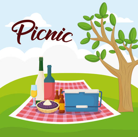 Landscape with picnic blanket with food, colorful design. Stock fotó - 100404080