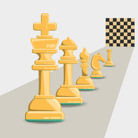 chess game design with pieces and chessboard over white background, colorful design. vector illustration Illustration