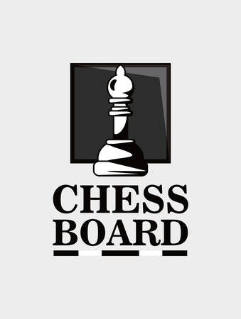 Chess board design with pawn piece over gray background, black and white design.