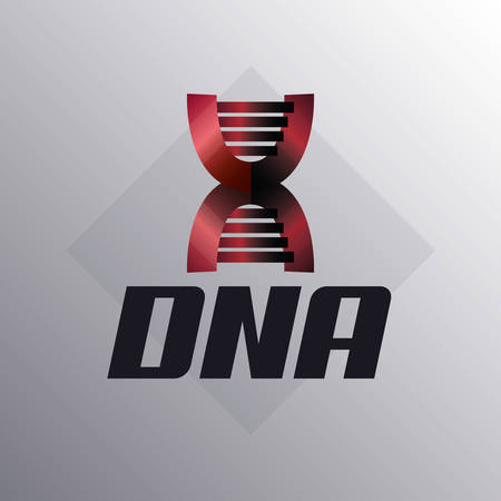DNA molecule structure icon over gray background, colorful design. Illustration