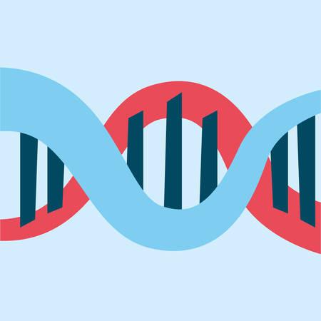 DNA molecule structure over blue background, vector illustration