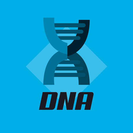 DNA molecule structure icon over blue background, vector illustration.