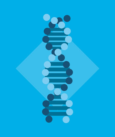 Dna molecule structure over blue background icon illustration.